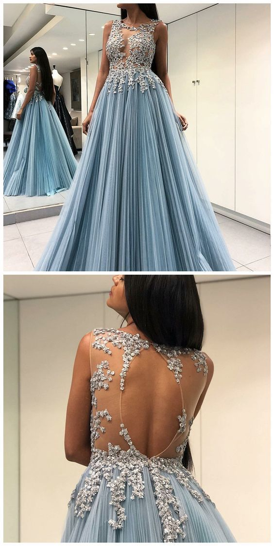 A-Line Round Neck Open Back Sheer Long Blue Prom Dress With Appliques