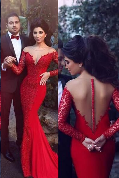 Long Sleeve Prom Dresses Trumpet Mermaid Short Train Long Lace Red Prom Dress