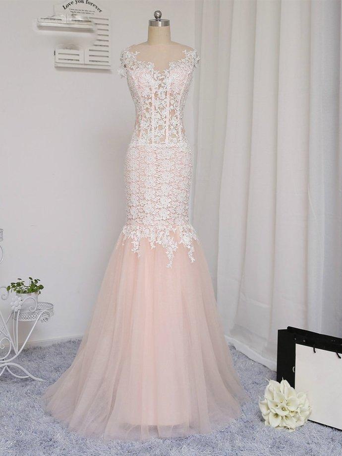 622990637ea Mermaid Prom Dresses Bateau Appliques Blush Pink Long Trumpet Chic Lace Prom
