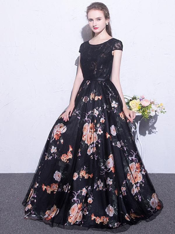 Black Prom Dresses Scoop A-line Floral Print Sexy Long Lace Prom Dress
