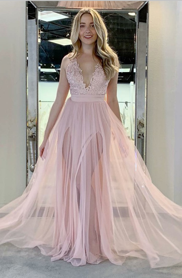 A-Line V-Neck Sweep Train Pink Tulle Prom Dresses with Appliques