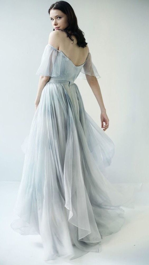 Beautiful Prom Dresses Off-the-shoulder A-line Print Flowy Chiffon Long Prom