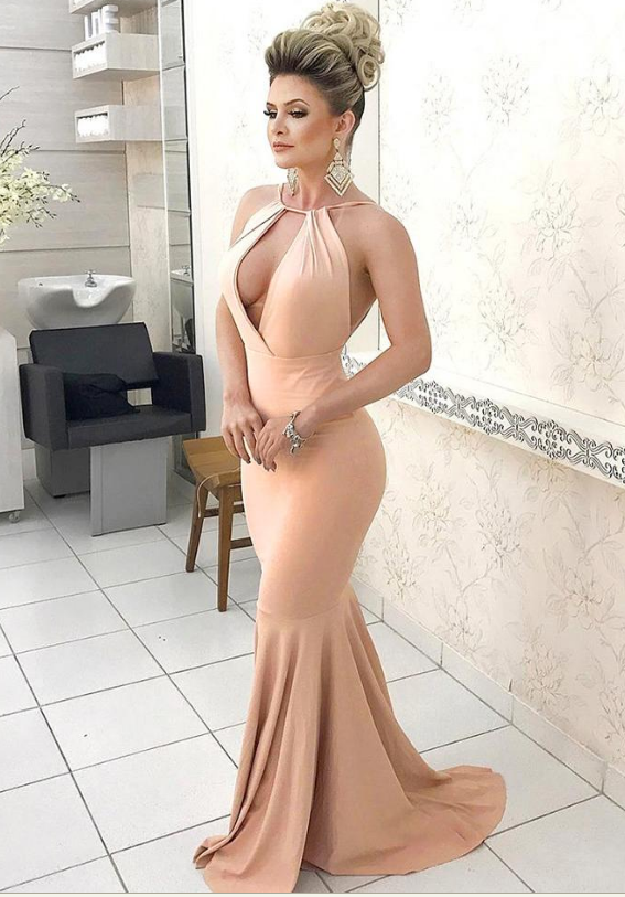 Open Back Mermaid Satin Prom Dress Floor Length halter Neck Women Evening Gowns