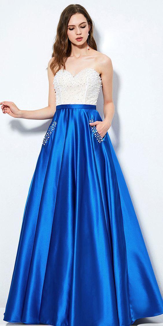 Strapless A-line Long Blue Satin Prom Dress Beaded Floor Length Women Evening