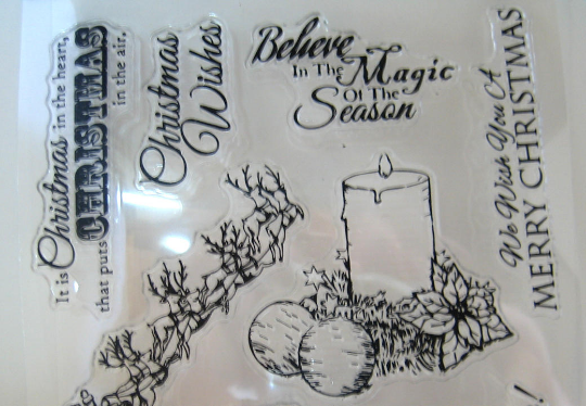 Christmas Clear Stamps Trees, Candle, Santa, Christmas Wishes Stamp