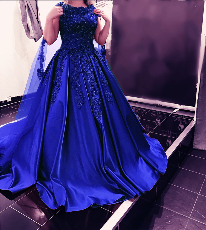 Royal Blue Satin Prom Dress Lace Appliques Floor Length Women Bridal Gowns