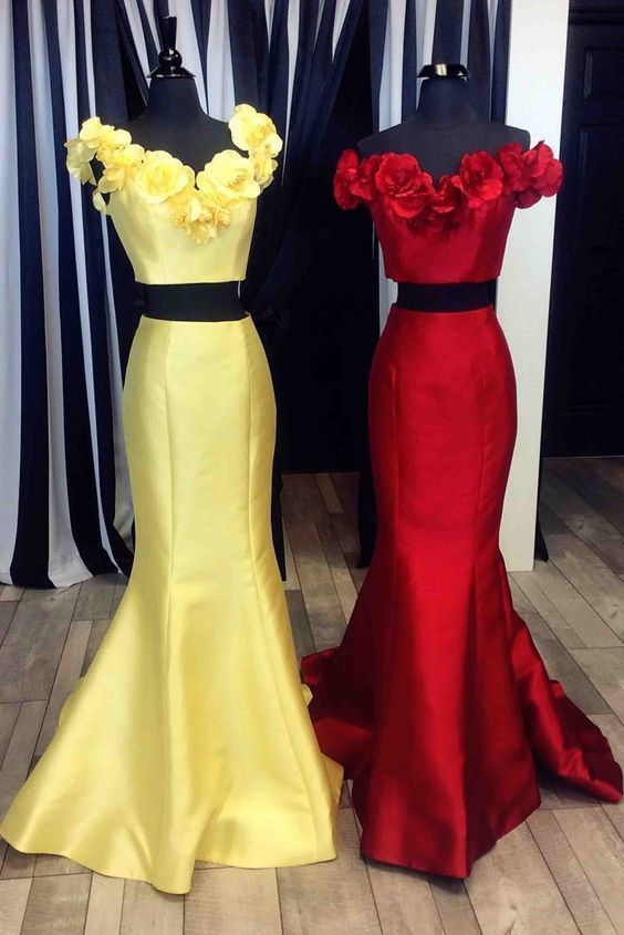 2 Pieces Mermaid Satin Prom Dress Off the Shoulder Flowers Women Dress