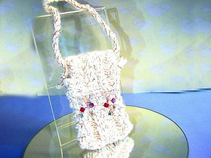 red and white designer cell phone, ipod, or camera case, bag, cozy HAND KNITTED