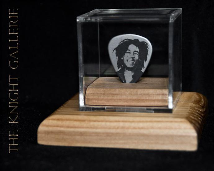 Commemorative guitar pick and display case: Bob Marley