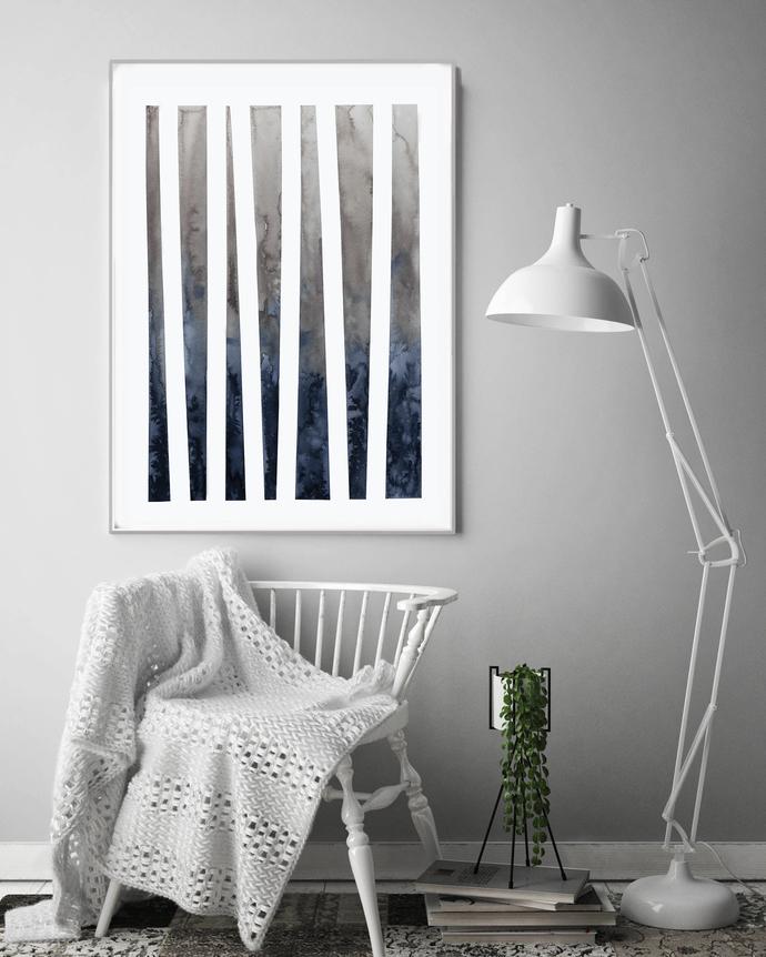 Watercolour Wall Art Print, Abstract Painting, Modern Minimalist, Navy Blue