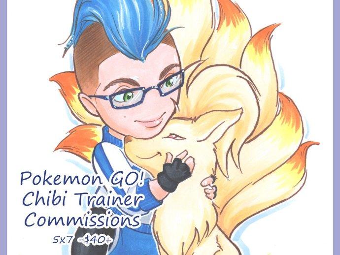 "Pokemon Go! Trainer Chibi and Pokemon Commission - 5""x7"""