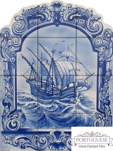 BLUE CARAVEL Hand Painted Ceramic Tile Mural Backsplash | Custom Painted