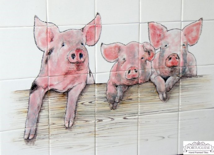 PIGS Hand Painted Ceramic Tile Mural Backsplash | Custom Painted Indoor/Outdoor