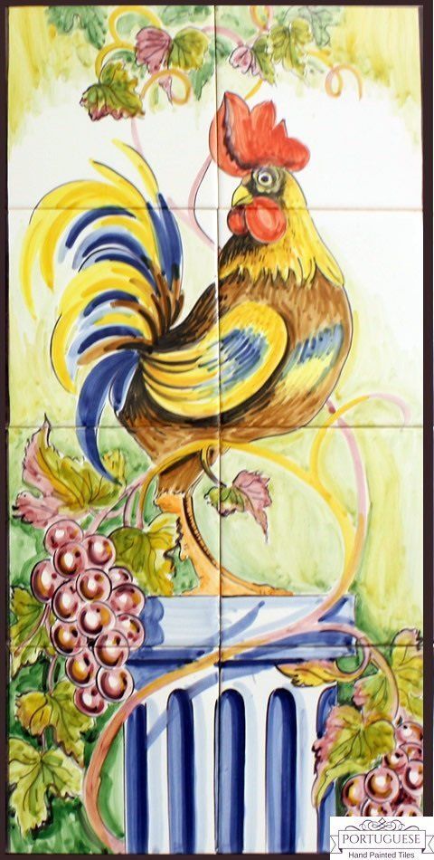ROOSTER Hand Painted Ceramic Tile Mural Backsplash | Custom Painted