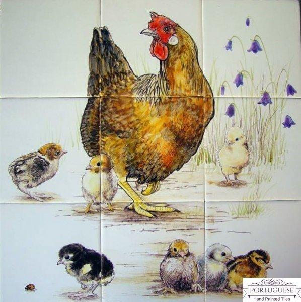 CHICKEN & CHICKS Hand Painted Ceramic Tile Mural Backsplash | Custom Painted