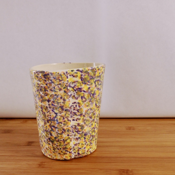 Handmade Colorful Ceramic Cup with Bubbles