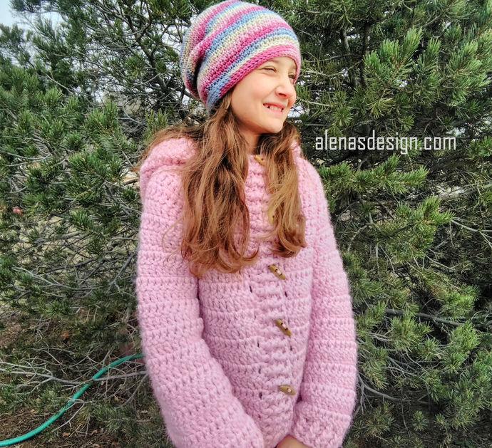 Crochet Pattern 216 Variegated Slouchy Hat Children Teen Adult Women Men Beanie