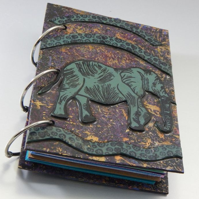 Elephant Journal - Refillable Blank Book - Sketch Book - Scrap Book - 4x6