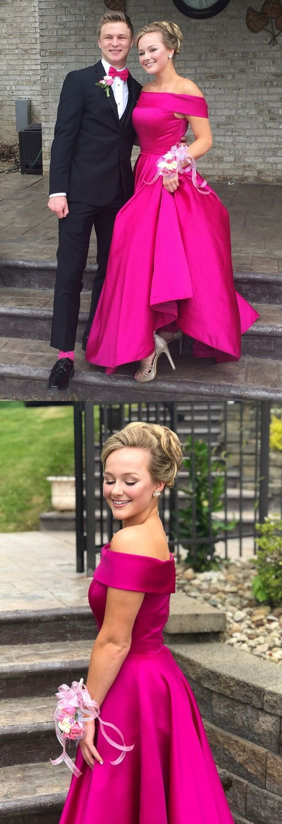 Gorgeous Off the shoulder Prom Dress, Hot Pink Long Prom Dress