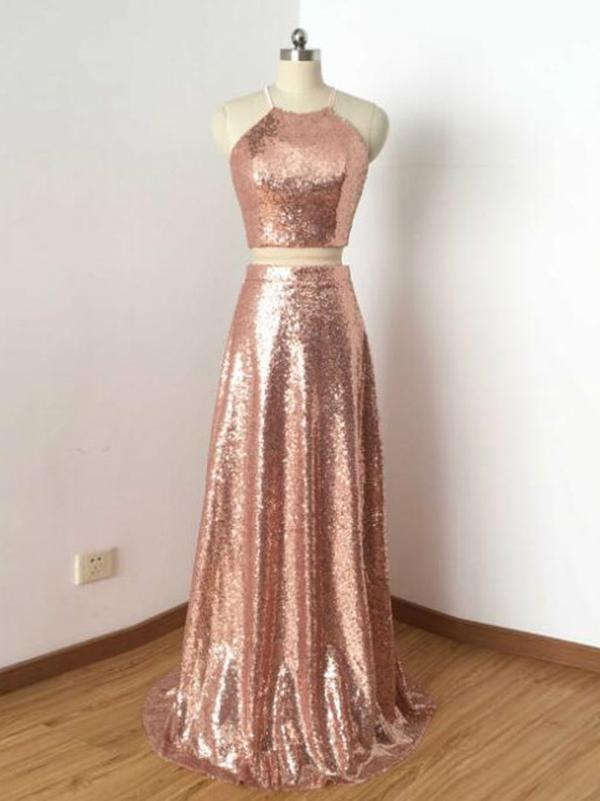 Two Piece Prom Dresses A-line Rose Gold Sequins Long Prom Dress Sexy Evening