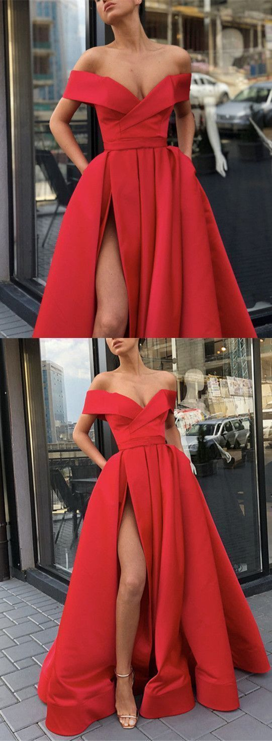 Princess Off The Shoulder Red Prom Dress A Line Formal Evening Gown With High