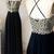 A Line Prom Dresses Appliques Halter Black Long Prom Dress Sexy Evening Dress
