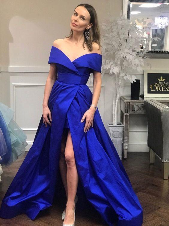 Royal Blue Off Shoulder Prom Dresses with Slit Vintage Plus Size Formal  Dress