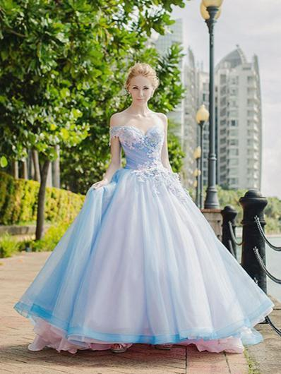 Ball Gown Wedding Dresses Beautiful One Shoulder Lace-up Big Colored Bridal Gown