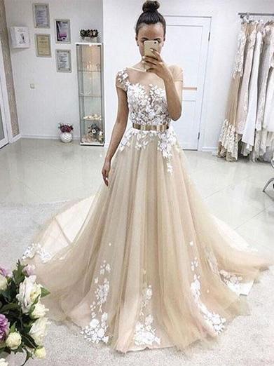 Beautiful Prom Dresses A-line Sweep Train Appliques Long Charming Prom Dress