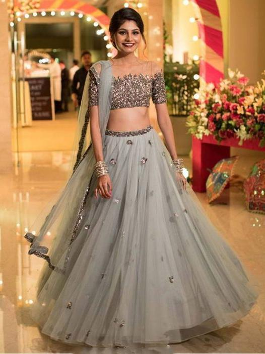 Two Piece Prom Dresses Scoop Floor-length A-line Tulle Sparkly Long Prom Dress