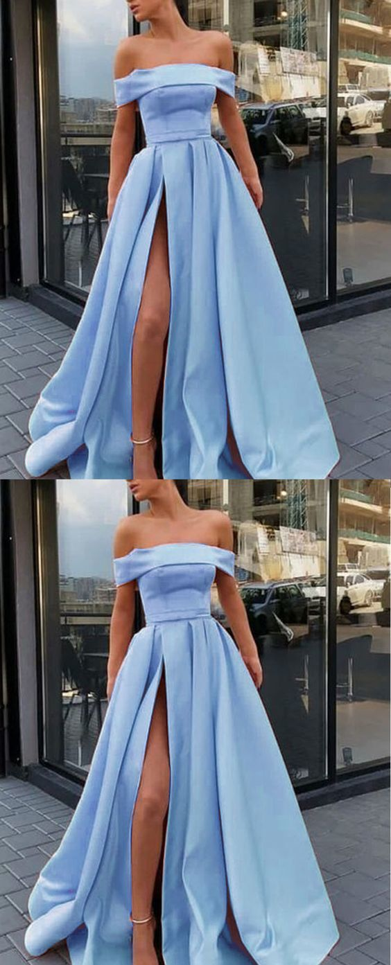 Light Blue Prom Dress with High Slit Sexy Evening Party Dress