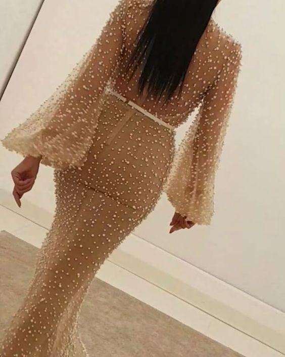 Long Sleeve Prom Dresses Mermaid Beading Prom Dress Long Sexy Evening Dress