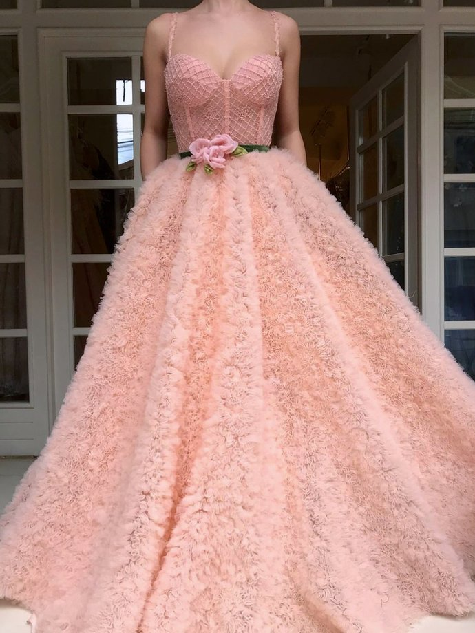 Chic Prom Dresses with Pockets Beading Sparkly A Line Lace Long Pink Prom Dress