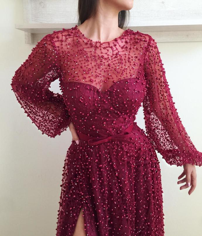 Long Sleeve Prom Dresses A-line Long Burgundy Lace Beading Sparkly Slit Prom