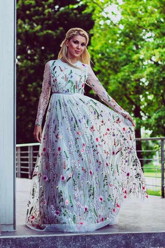 Beautiful Lace Prom Dresses A-line Sweep Train Fairy Prom Dress Long Evening