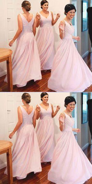 Chiffon Plus Size A-line Bridesmaid Dresses,Light Pink Wedding Party Dresses