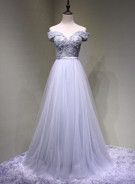 Charming Grey Applique Sweetheart Tulle Formal Gown, Off Shoulder Party Dress
