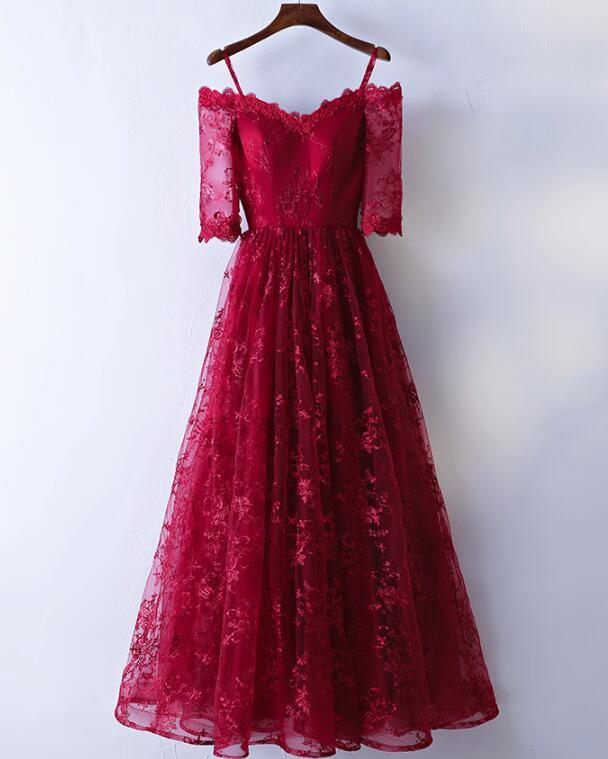 Wine Red Lace Wedding Party Dress, Cute Short Sleeves Party Dress 2019