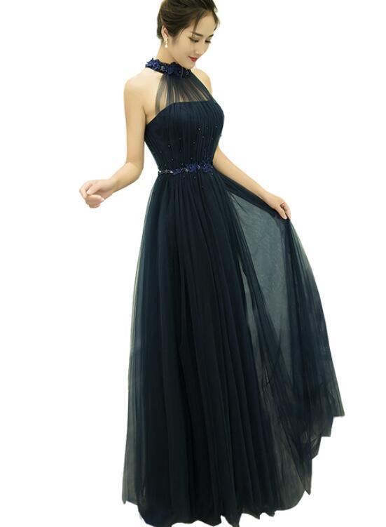 Navy Blue Lovely Party Dress 2019, Prom Dress 2019, Tulle Party Dress 2019
