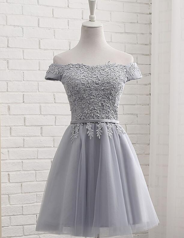 Lovely Applique Grey Tulle Short Sleeves Party Dress, Teen Formal Dress 2019