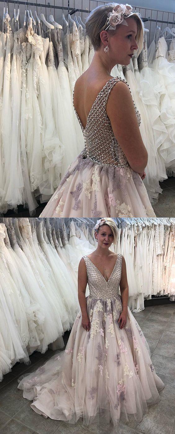 d59343a0ee Floral Appliques Prom Dress