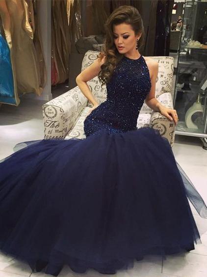 74b290b46de Mermaid Prom Dresses Halter Sleeveless Long Sexy Beading Chic Sparkly Prom  Dress