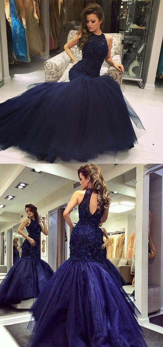 Mermaid Prom Dresses Halter Sleeveless Long Sexy Beading Chic Sparkly Prom Dress