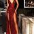 Sparkly Prom Dresses Burgundy V-neck Long Prom Dress with Slit Sexy Evening