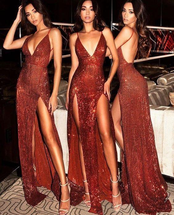 Sparkly Prom Dresses Burgundy V-neck Long Prom Dress with Slit Sexy Evening