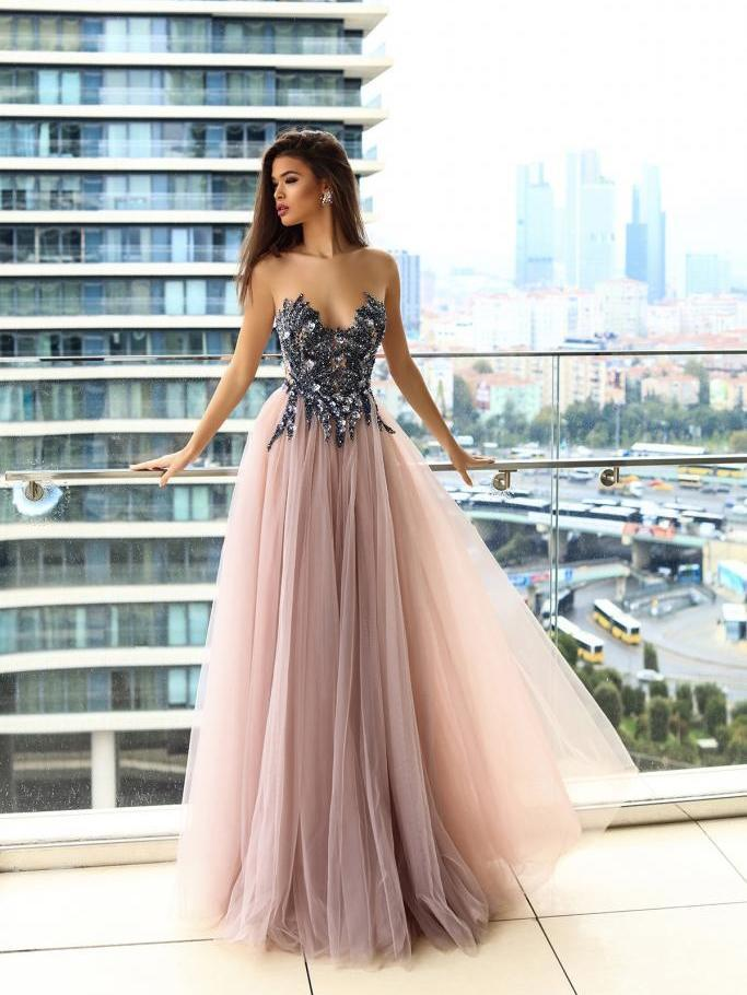 Sparkly Prom Dresses A-line Floor-length Beading Long Sexy Blush Pink Prom Dress