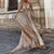 Open Back Prom Dresses A Line Spaghetti Straps Gold Sweep Train Sparkly Prom