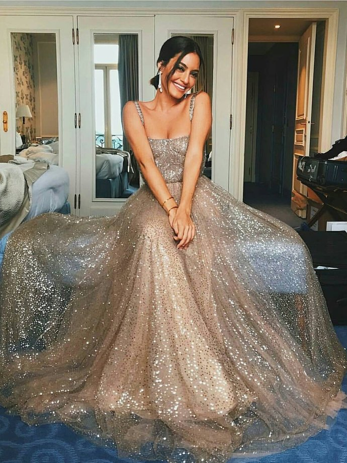 Sparkly Prom Dresses Straps Aline Sleeveless Long Sexy Sequins Chic Prom Dress