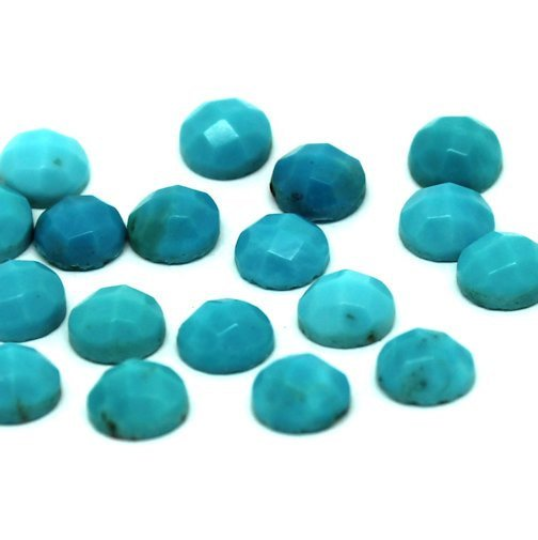 6mm Turquoise Rose Cut Cabochon - 2 pieces