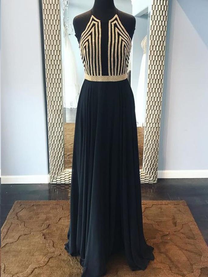 Black Prom Dresses A-line Beautiful Chiffon Long Prom Dress Sexy Evening Dress